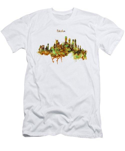 Boston Watercolor Skyline Men's T-Shirt (Slim Fit) by Marian Voicu