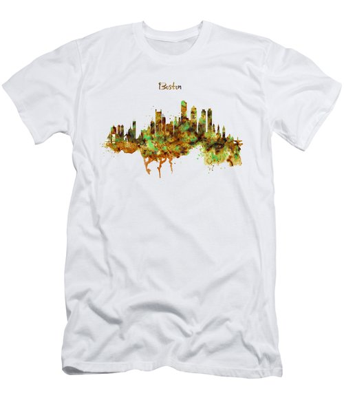 Boston Watercolor Skyline Men's T-Shirt (Athletic Fit)