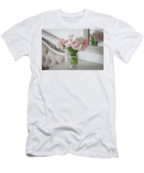 Men's T-Shirt (Athletic Fit) featuring the photograph Bouquet Of Delicate Ranunculus And Tulips In Interior by Sergey Taran