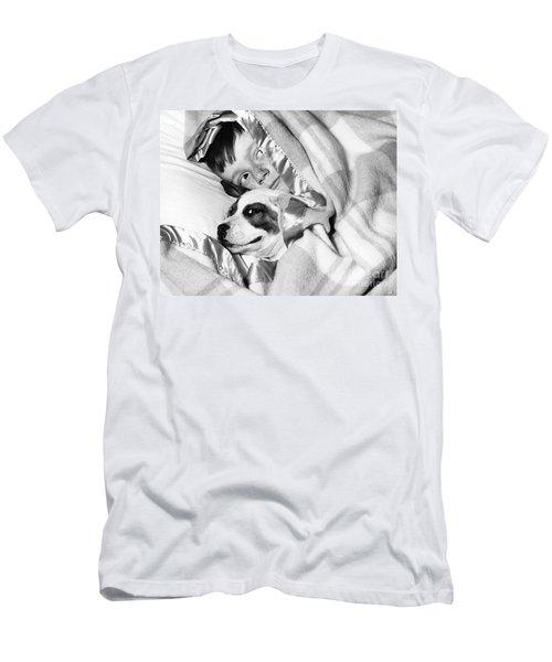 Boy And Dog Hiding Under Blanket Men's T-Shirt (Athletic Fit)