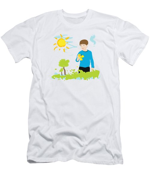 Boy Painting Summer Scene Men's T-Shirt (Athletic Fit)