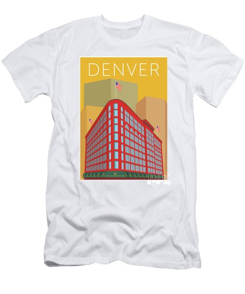 Men's T-Shirt (Athletic Fit) featuring the digital art Denver Brown Palace/gold by Sam Brennan