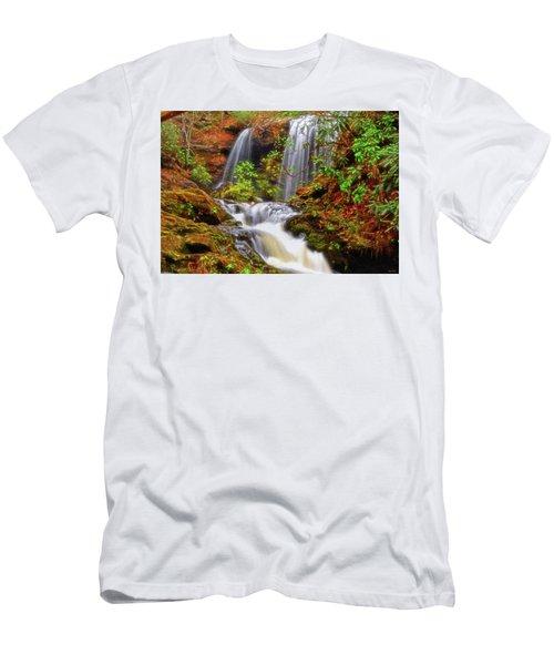Brasstown Falls 013 Men's T-Shirt (Slim Fit) by George Bostian