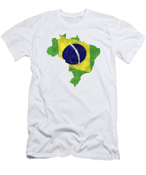 Brazil Map Art With Flag Design Men's T-Shirt (Slim Fit) by World Art Prints And Designs