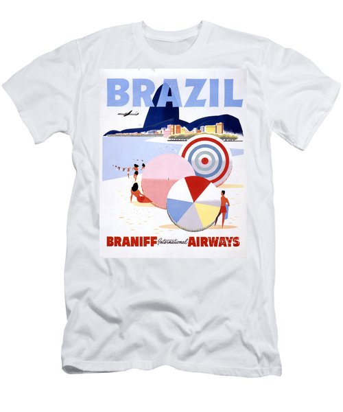 Brazil Vintage Travel Poster Restored Men's T-Shirt (Athletic Fit)