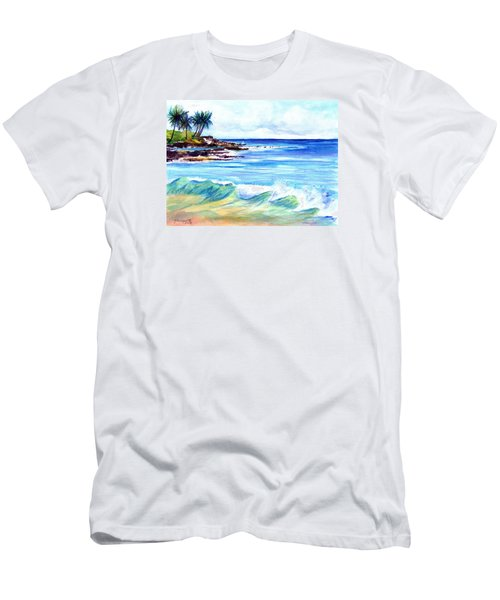 Men's T-Shirt (Slim Fit) featuring the painting Brennecke's Beach by Marionette Taboniar