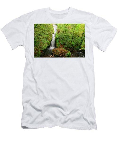 Men's T-Shirt (Slim Fit) featuring the photograph Bridal Veil Falls by Jonathan Davison