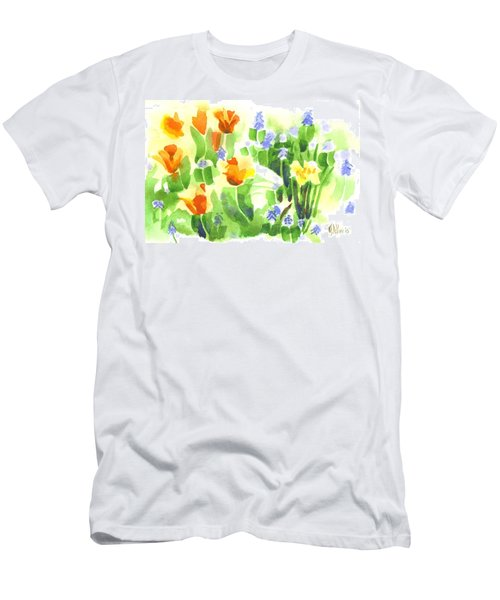 Men's T-Shirt (Slim Fit) featuring the painting Brightly April Flowers by Kip DeVore