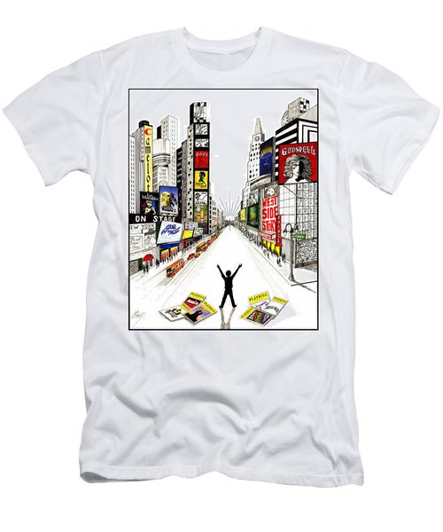 Men's T-Shirt (Slim Fit) featuring the drawing Broadway Dreamin' by Marilyn Smith