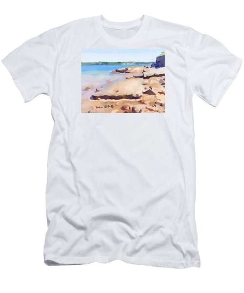 Broken Walkway Rock At Ten Pound Island Beach Men's T-Shirt (Athletic Fit)