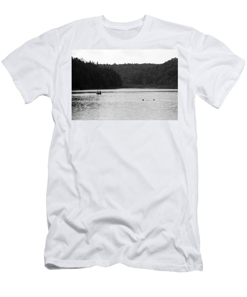 Men's T-Shirt (Slim Fit) featuring the photograph Brookfield, Vt - Swimming Hole 2006 Bw by Frank Romeo