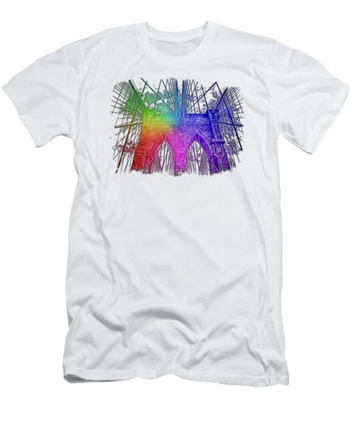 Brooklyn Bridge Cool Rainbow 3 Dimensional Men's T-Shirt (Slim Fit) by Di Designs