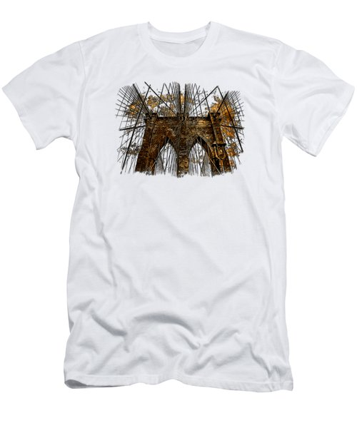 Brooklyn Bridge Earthy 3 Dimensional Men's T-Shirt (Slim Fit) by Di Designs
