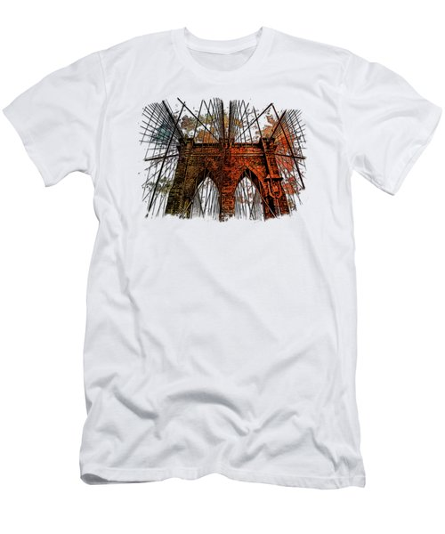 Brooklyn Bridge Earthy Rainbow 3 Dimensional Men's T-Shirt (Slim Fit) by Di Designs
