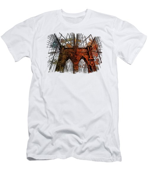 Brooklyn Bridge Earthy Rainbow 3 Dimensional Men's T-Shirt (Athletic Fit)