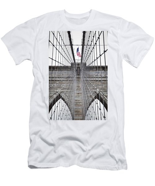 Men's T-Shirt (Athletic Fit) featuring the photograph Brooklyn Bridge Flag by Peter Simmons