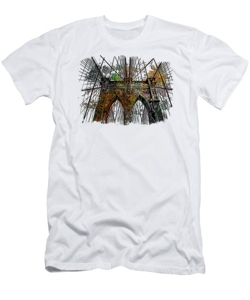 Brooklyn Bridge Muted Rainbow 3 Dimensional Men's T-Shirt (Slim Fit) by Di Designs