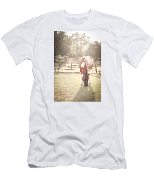 Men's T-Shirt (Slim Fit) featuring the photograph Brown Horse In A Pasture by Kelly Hazel