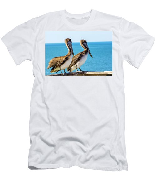 Brown Pelican Pair Men's T-Shirt (Athletic Fit)