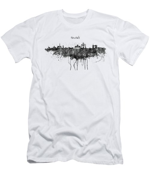 Brussels Black And White Skyline Silhouette Men's T-Shirt (Athletic Fit)