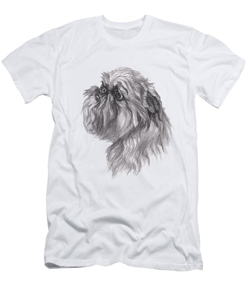 Brussels Griffon Dog Portrait  Drawing Men's T-Shirt (Slim Fit) by I Am Lalanny