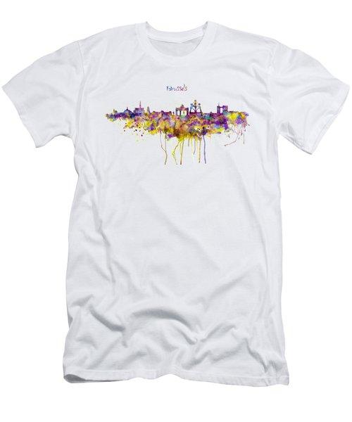 Brussels Skyline Silhouette Men's T-Shirt (Slim Fit) by Marian Voicu