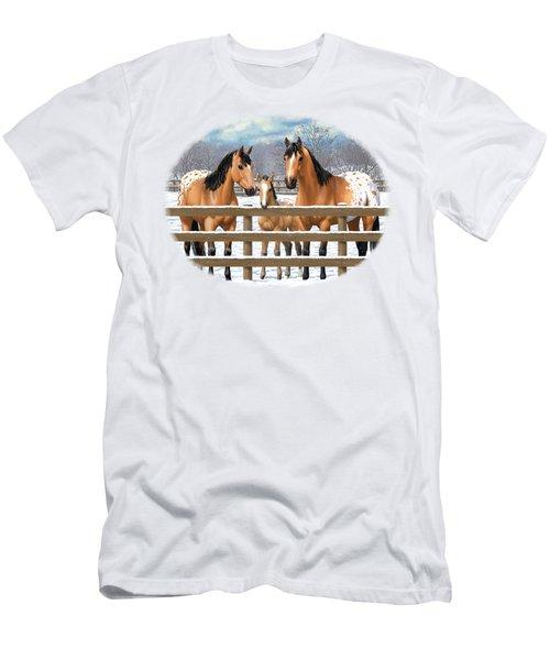 Buckskin Appaloosa Horses In Snow Men's T-Shirt (Athletic Fit)
