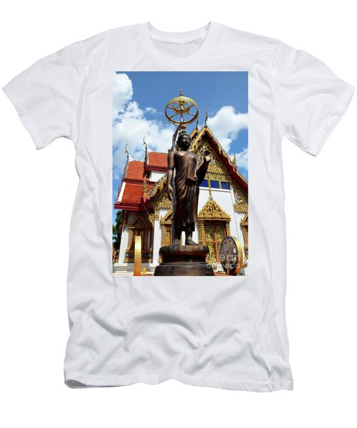 Buddha Statue With Sunshade Outside Temple Hat Yai Thailand Men's T-Shirt (Athletic Fit)