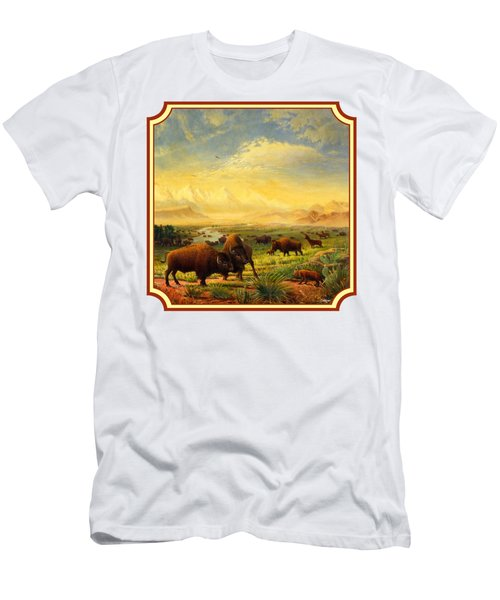Buffalo Fox Great Plains Western Landscape Oil Painting - Bison - Americana - Square Format Men's T-Shirt (Athletic Fit)