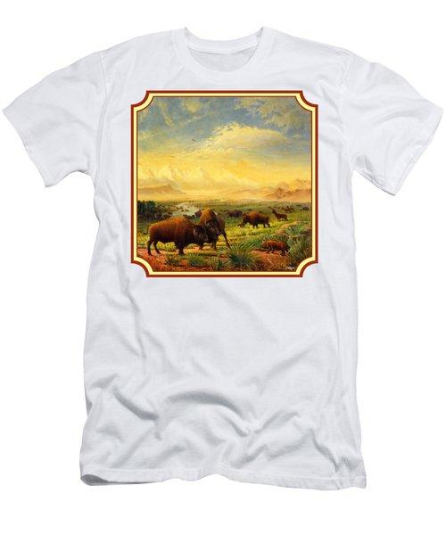 Buffalo Fox Great Plains Western Landscape Oil Painting - Bison - Americana - Square Format Men's T-Shirt (Athletic Fit)