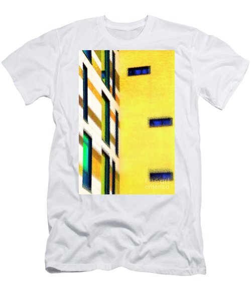 Men's T-Shirt (Athletic Fit) featuring the digital art Building Block - Yellow by Wendy Wilton