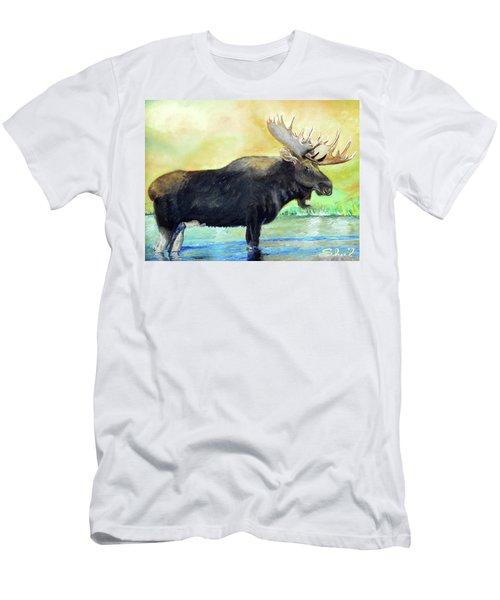 Bull Moose In Mid Stream Men's T-Shirt (Athletic Fit)