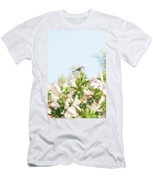 Bushtit Atop The Hibiscus Men's T-Shirt (Athletic Fit)