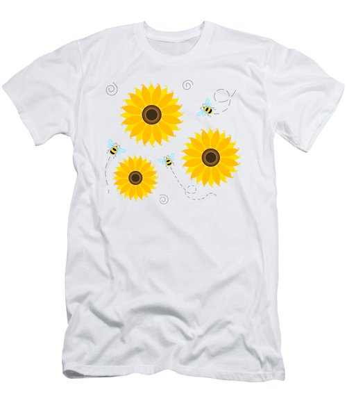 Busy Bees And Sunflowers - Large Men's T-Shirt (Slim Fit) by SharaLee Art