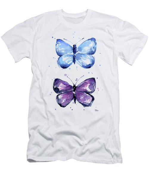 Butterflies Blue And Purple  Men's T-Shirt (Athletic Fit)