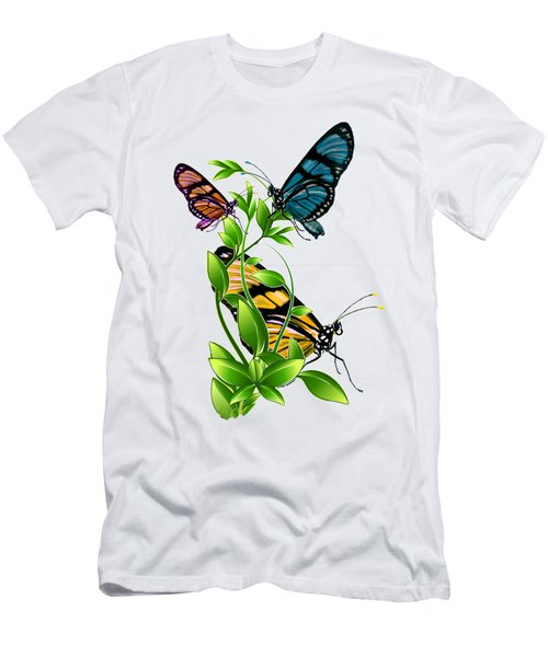 Butterflies On Leaves Men's T-Shirt (Athletic Fit)
