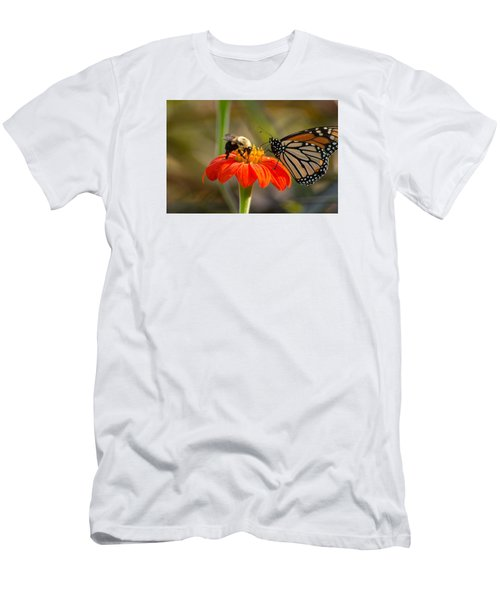 Men's T-Shirt (Athletic Fit) featuring the photograph Butterfly And Bumble Bee by Willard Killough III