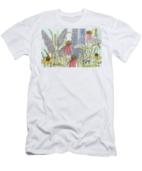 Butterfly Bush In Garden Men's T-Shirt (Slim Fit) by Laurie Rohner