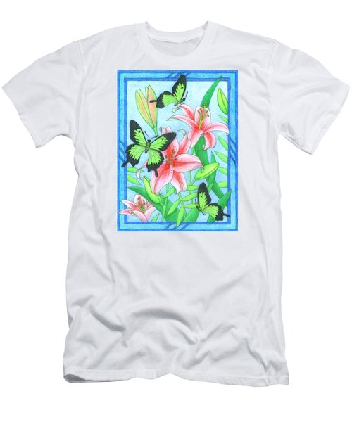Butterfly Idyll- Lilies Men's T-Shirt (Athletic Fit)