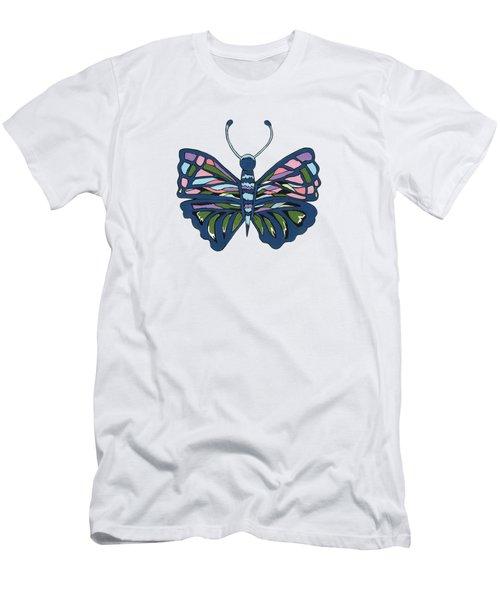 Butterfly In Blue Men's T-Shirt (Slim Fit) by Kathleen Sartoris