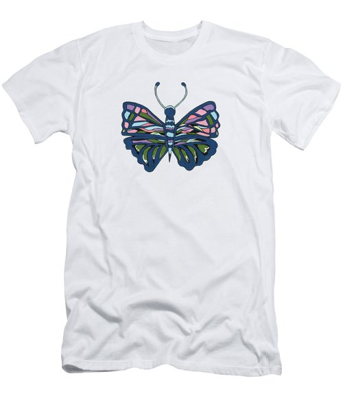 Butterfly In Blue Men's T-Shirt (Slim Fit)