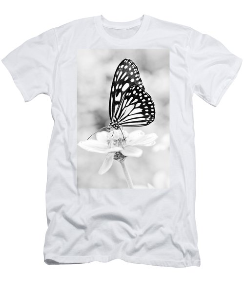 Men's T-Shirt (Athletic Fit) featuring the photograph Butterfly Wings 7 - Black And White by Marianna Mills