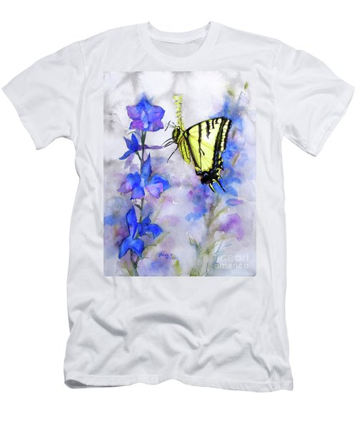 Men's T-Shirt (Slim Fit) featuring the painting Butteryfly Delight by Bonnie Rinier