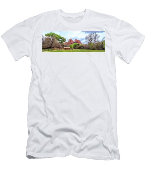 Men's T-Shirt (Athletic Fit) featuring the photograph Cabin At Cathedral Rock Panorama by James Eddy