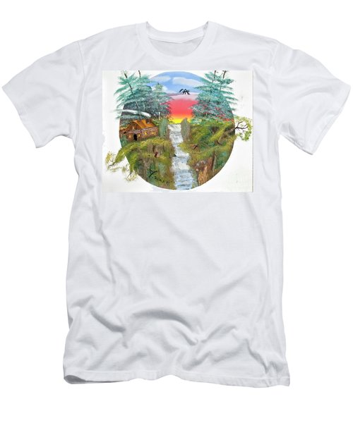 Cabin By The Falls Men's T-Shirt (Athletic Fit)