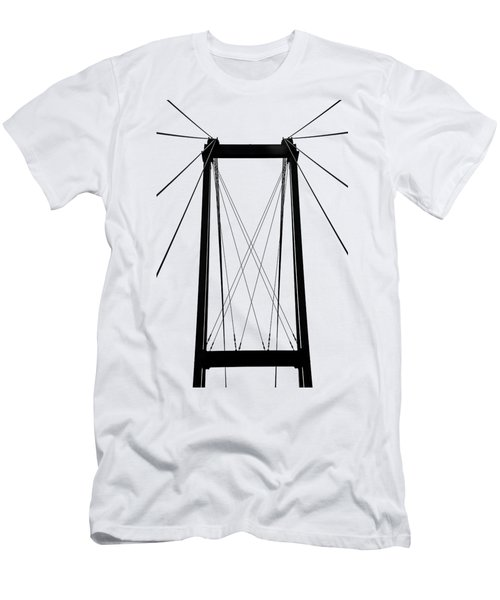 Cable Bridge Abstract Men's T-Shirt (Slim Fit) by Debbie Oppermann
