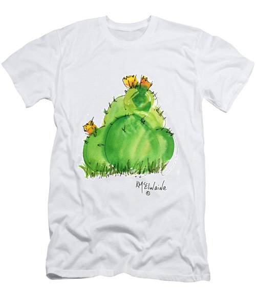 Cactus In The Yellow Flower Watercolor Painting By Kmcelwaine Men's T-Shirt (Athletic Fit)
