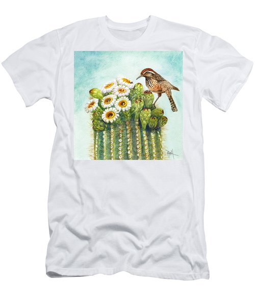 Men's T-Shirt (Slim Fit) featuring the painting Cactus Wren And Saguaro by Marilyn Smith