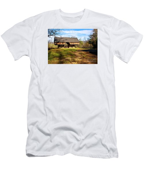 Cades Cover Cantilevered Barn Men's T-Shirt (Slim Fit) by Marilyn Carlyle Greiner