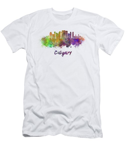 Calgary V2 Skyline In Watercolor Men's T-Shirt (Athletic Fit)